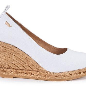 Marquesa Canvas Wedge Pumps - White
