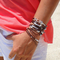 Brown and Silver Leather Bracelet / Necklace