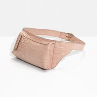 & Other Stories | Leather Fanny Pack | Croco Pink
