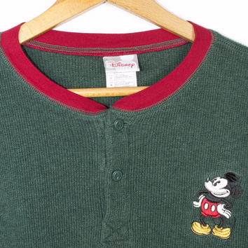 90s mickey mouse embroidered waffle knit henley shirt - vintage 1990s disney - disneyland