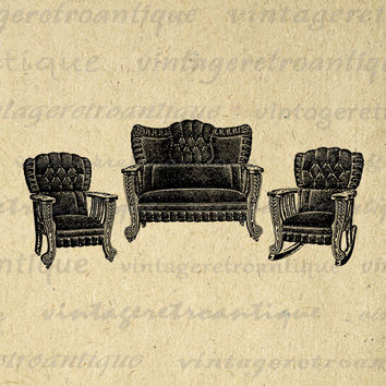 Printable Antique Furniture Image Graphic Couch Download Chair Digital Vintage Clip Art Jpg Png Eps 18x18 HQ 300dpi No.1104