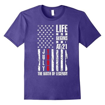 21st Bday Gift T-Shirt Life Begins At 21 Born in July 1996