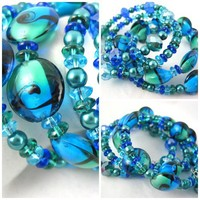 Teal Lampwork glass memory wire bangle bracelet