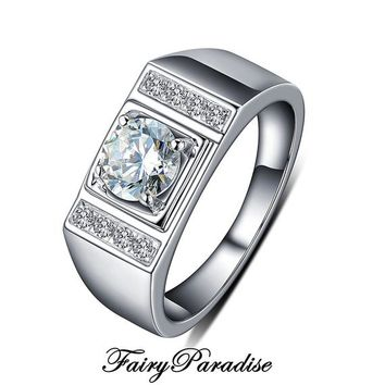Men's Wedding Band , 0.8 Ct Man Made Diamond Solitaire Ring, Anniversary Ring for Men - Free gift box  (Fairy Paradise) YLR006