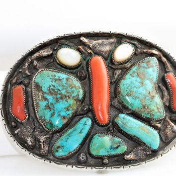 Vintage Sterling Silver Turquoise Butterfly Belt Buckle Red Coral & MOP 112.45g (Not Scrap)