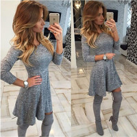 Grey Snowflake Design Pleated Dress
