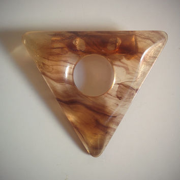 Vintage 60's Triangle Brooch Brown Marbled Modernist Lucite Pin