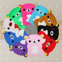 Cute 3D Bear Silicone Rubber Soft Back Case Cover Stand for iPad mini 10 colors