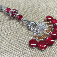 Cherry Red Knitting Bag Stitch Marker Lanyard Holder