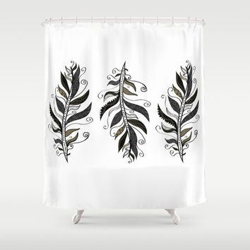 TRIBAL FEATHERS Shower Curtain by Nika | Society6