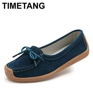 TIMETANG spring women genuine leather shoes woman Hand-sewn suede leather flats cowhide flexible spring boat shoes women loafer