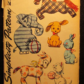Sale Uncut 1950's Simplicity Sewing Pattern, 4510! 6 One Piece Toys with Embroidery Transfer Stuffed Animals/Horses/Elephants/Dogs/Bunny/Lam