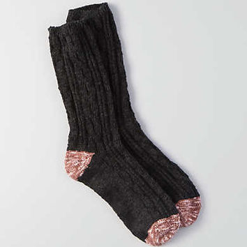 AEO Striped Cable Crew Socks, Charcoal