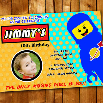 LEGO Birthday Invitation, Birthday Invitation for little boy and little girl