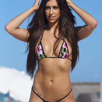 Tropical Floral Sexy Micro G String Bikini 2pc Small Triangle Top and Mini Thong Minimal Coverage Swimsuit Swimwear Exotic Extreme w/ Black