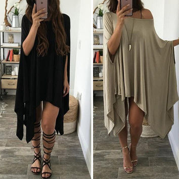 2016 Loose Off Shoulder Handkerchief Casual Party Playsuit Clubwear Bodycon Boho Dress _ 9139