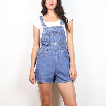 Vintage 90s Denim Overall Shorts Squeeze Denim Blue Jean Soft Grunge Shortalls Playsuit High Waisted Shorts Romper 1990s Dungarees XS S