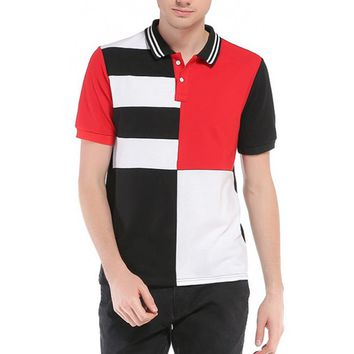 UK Size Fashion Men's Polo Shirt High Quality Striped Patchwork Casual Polo Shirts Tops&Tees Plus Size Male Polo Shirt 3