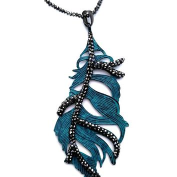 Painted Metal Statement Leaf Necklace - Silver Pewter