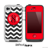 Black & White Chevron Pattern with Red Monogram v2 Print Skin for the iPhone 4/4s, 5/5s or 5c LifeProof Case