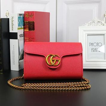 GUCCI Fashion New Leather Shopping More Color Chain Bag Shoulder Bag Red