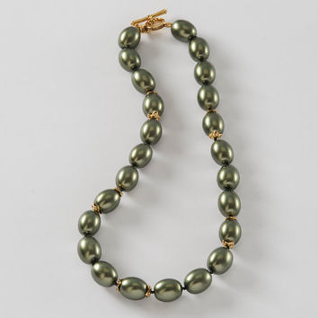 1950's Monet Moss Green Beaded Necklace Signed