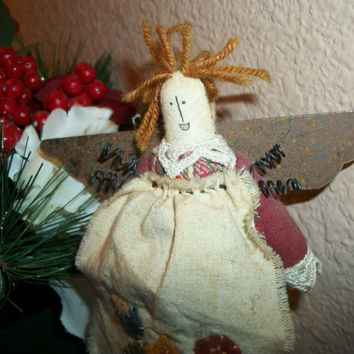 Soft Sculpture Cotton  Angel Rustic Primitive Country Angel Metal Wings Curly Wire Craft Supply Christmas Tree Ornament Home Decor