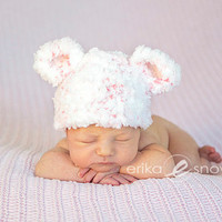 Fluffy and Cozy Baby Bear Christmas Peppermint Swirl Hat - Size Preemie, Newborn, and Baby