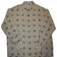Vintage 80s Beige Button Up Shirt Made in USA Mens Size Large - Default Title
