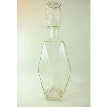Vintage Glass Liquor Bottle, Glass Liquor Decanter, Tall Harlequin Diamond Shape, Thatcher Glass Co.