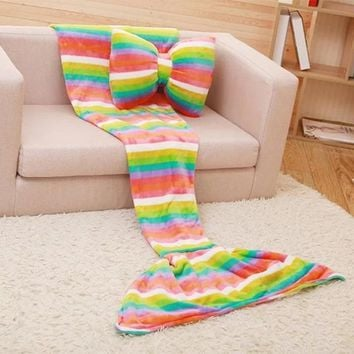 New Coral Velvet Mermaid Tail Blanket Colorful Striped Printed Soft Blankets for Beds Sofa Portable Outdoor Travel Supply