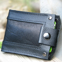 Men's Leather Wallet - Slim Jim Bifold Money Clip --- Black Inlay in Black
