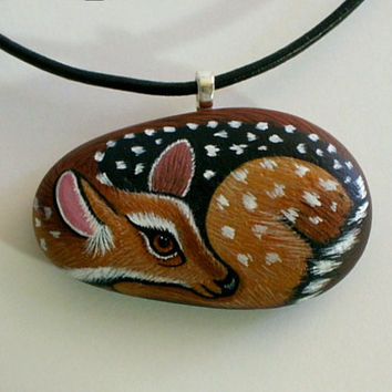 Deer, Holiday Gift Ideas, For Her, Jewelry, necklaces, pendant, totem, painted rock, woodland fawn miniature painting, ooak stocking stuffer