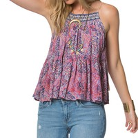 O´Neill Rainie Floral-Printed Embroidered High Neck Tank Top | Dillards