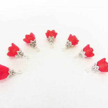 Red Flower Cap Charms - 7 Pcs. Red Lucite Crystal Charms - Handmade Beaded Charms - DIY Jewelry Parts - Crystal Jewelry Supplies - Gifts