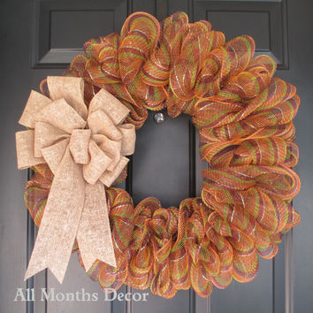 Fall Striped Deco Mesh Wreath, Fall Winter Thanksgiving Christmas, Spring Summer, Year Round Home Decor, Housewares