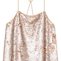 Sequined top - Old rose - Ladies | H&M GB