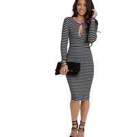 Black Down To The Last Stripe Dress