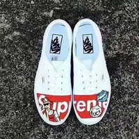 Vans Old School Warm Casual Canvas  Shoes print B-PSXY White-red