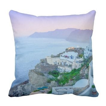 Breathtaking View of Santorini, Greece Pillows