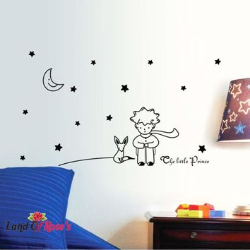 Little Prince With Fox Moon wall sticker for kids rooms