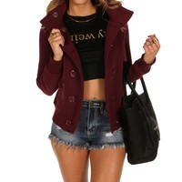 Sale-burgundy Cozy Fleece Jacket