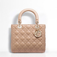 """LADY DIOR"" BAG NUDE LAMBSKIN"