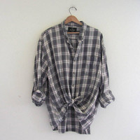 Vintage oversized boyfriend flannel / gray Plaid Grunge Shirt / size 3X