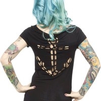 Sourpuss – Anchor Laser Cut-Out Top In Black | Thirteen Vintage