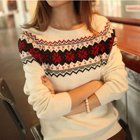 Snowflake Embroidery Loose Long-Sleeved Knit Sweater Pullover