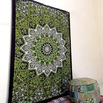 indian cotton psychedelic green star mandala tapestry wall hanging hippie bedding bedspread throw bohemian boho ethnic wall decor art