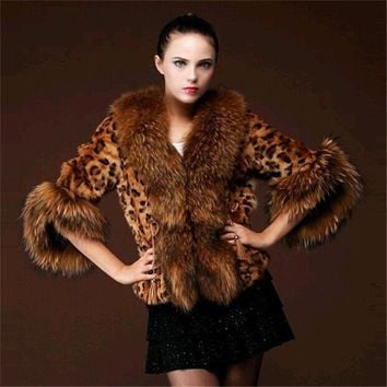 Women's Luxury Warm Winter Faux Fox Fur Cape Leopard Coat Jacket - Free Shipping