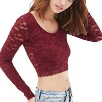 Long Sleeve Lace Bodycon Cropped Top
