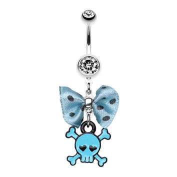 Dainty Skull Crossbones Polka Dot Bow Belly Button Ring